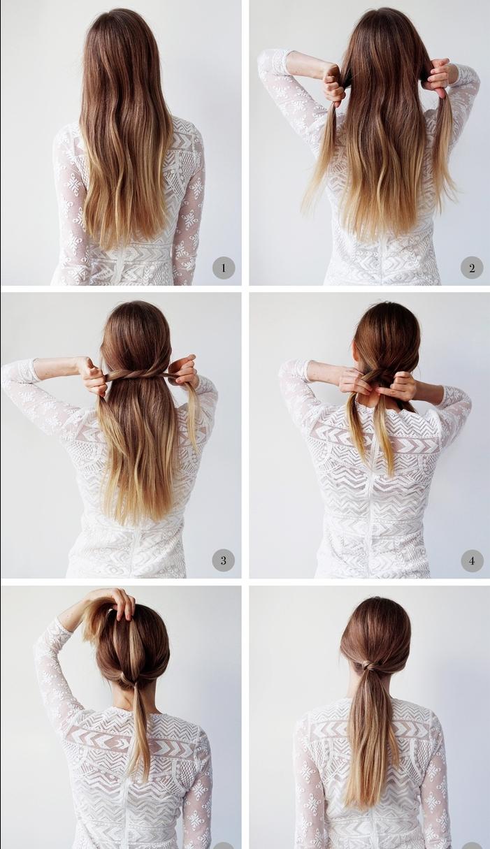 coiffure cheveux longs sublimée par une demi queue de cheval nouée et un balayage subtil
