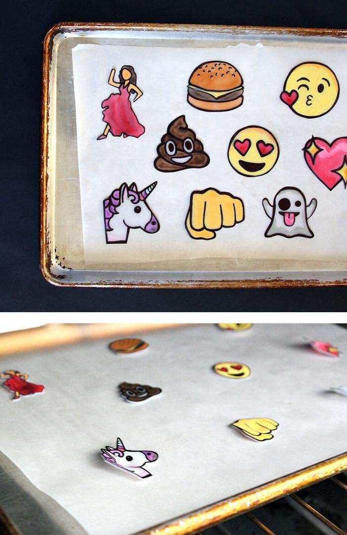 tuto facile pour réaliser des stickers emojis en plastique, une activité manuelle adulte originale pour customiser ses vêtements