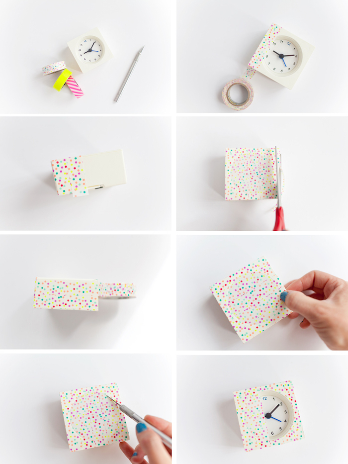 diy chambre, idée comment personnloser son réveil avec du washi tape à points colorés, bricolage facile