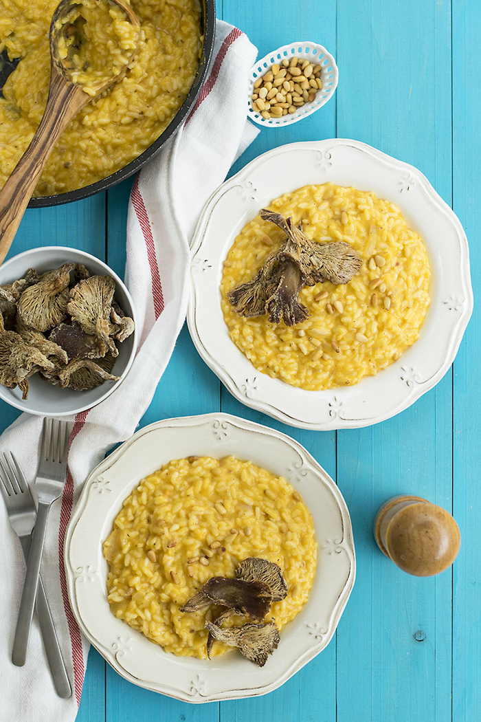 recette de potimarron originale pour préparer du risotto crémeux aux champignons