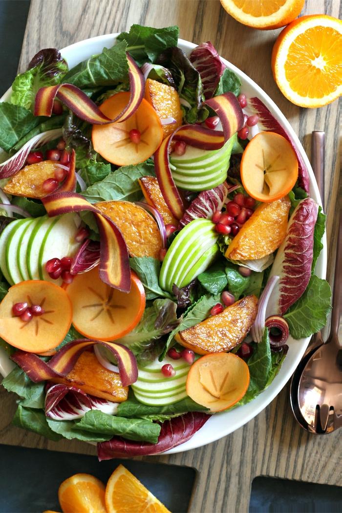 recettes de salades composées, pommes, concombres, laitues, salade d'hiver