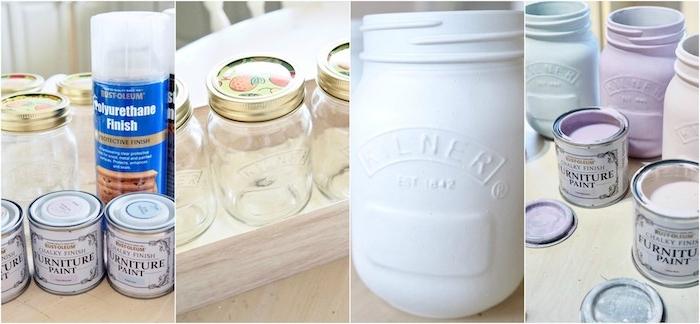idée de recyclage pots en verre repeint en couleurs pastel pour fabriquer un vase de fleurs, centre de table mariage champêtre