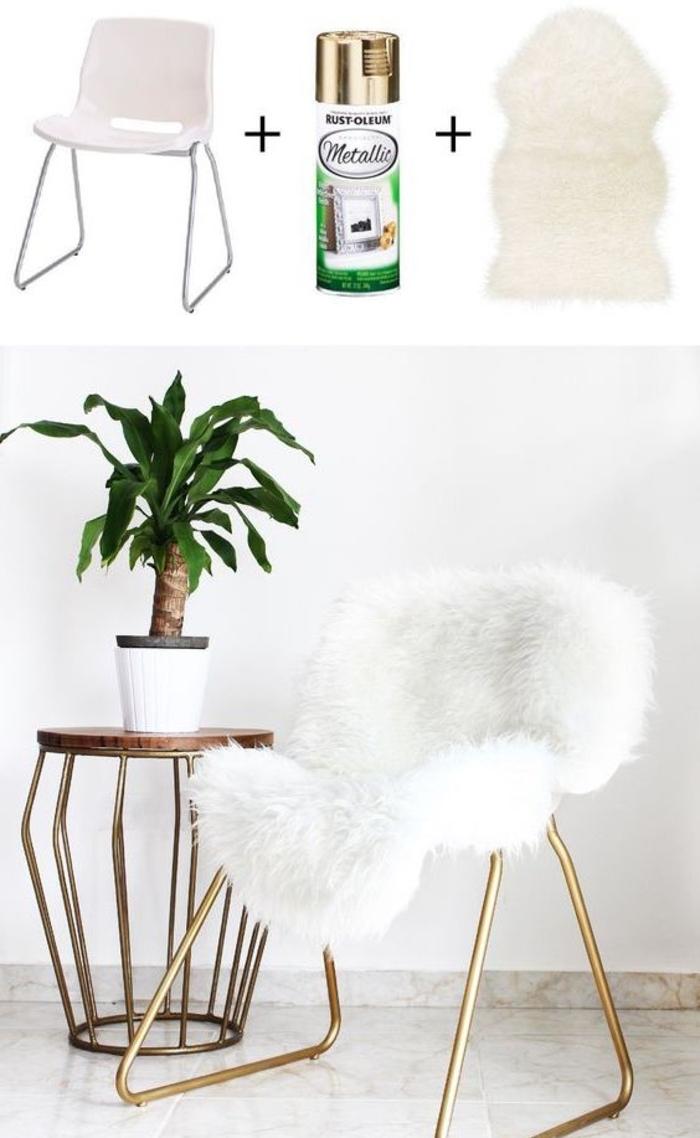 astuce d ikea pour relooker un meuble au design scandinave, chaise en plastique et métal revêtue de fausse fourrure