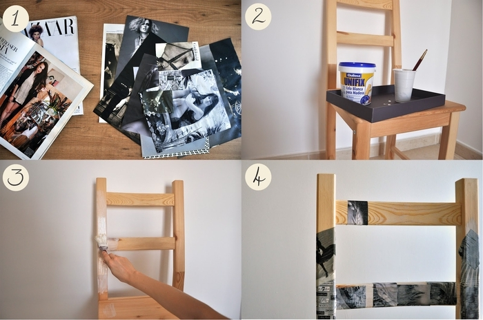 comment customiser un meuble avec des coupures de magazines, chaise personnalisée à petit prix