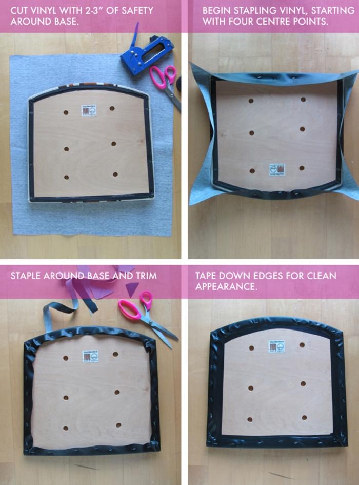 idée originale pour tuto pour relooker des chaises en recyclant un vêtement vintage, assise retapissée de vinyle