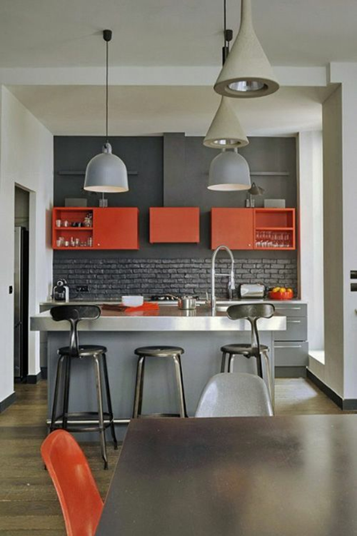 1001 id es pour d cider quelle couleur pour les murs d - Cuisine en orange ...