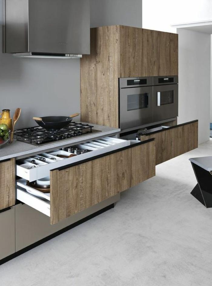 cuisine sol gris clair cuisine grise plan de travail noir