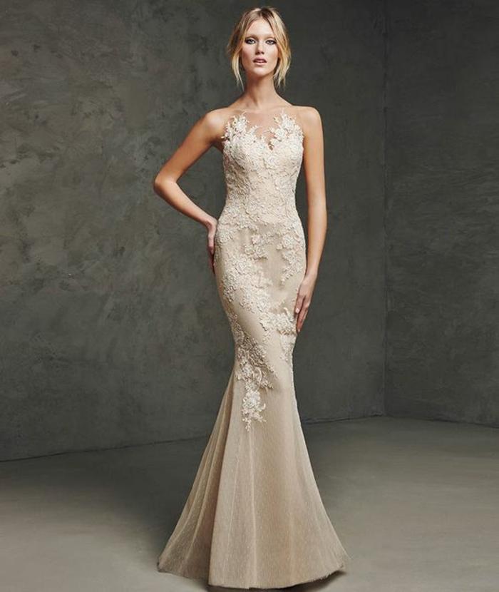robe nouvel an robe longue de soirée en dentelle couleur champagne style silhouette de sirène