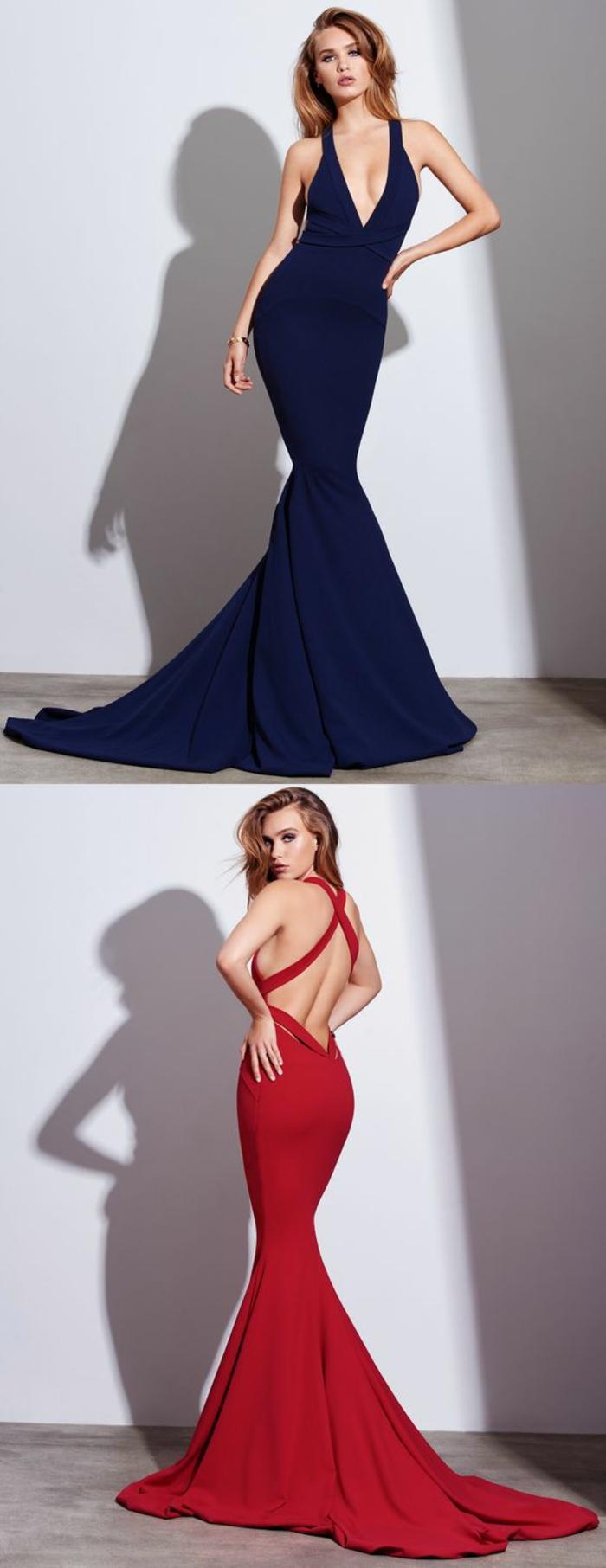 robe longue moulante avec longue traîne en bleu et rouge dos nu avec grand décolleté plongeant en V