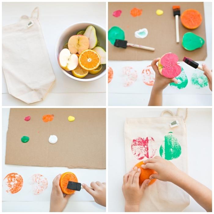 personnaliser un sac à goûter avec des tampons originaux en fruits peints, activité manuelle 2 ans amusante avec des fruits et des légumes