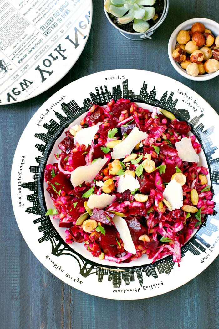 recette de salade d'hiver légère et vitaminée de betterave cuite et d'orge
