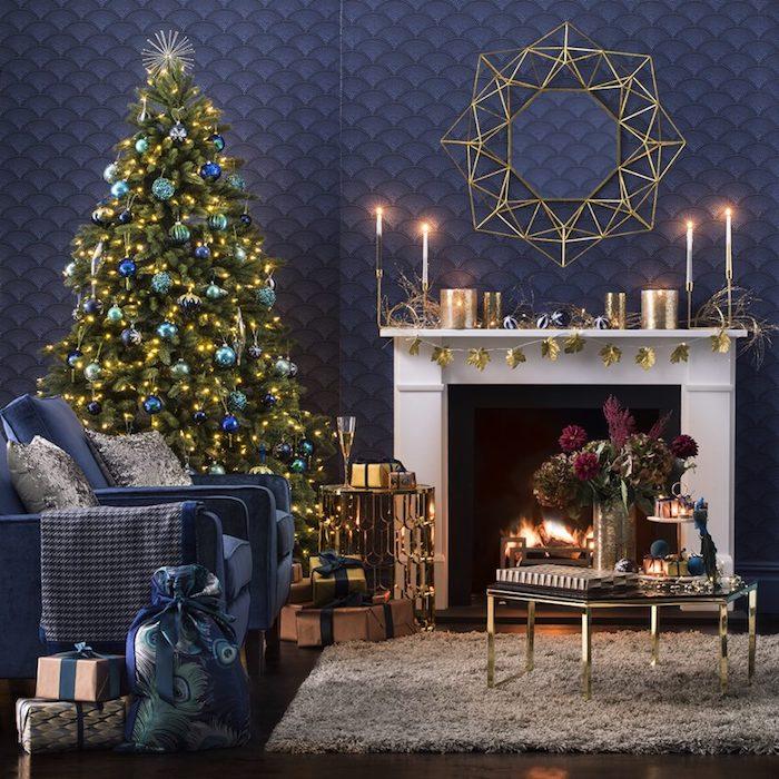 d coration de noel bleu canard. Black Bedroom Furniture Sets. Home Design Ideas