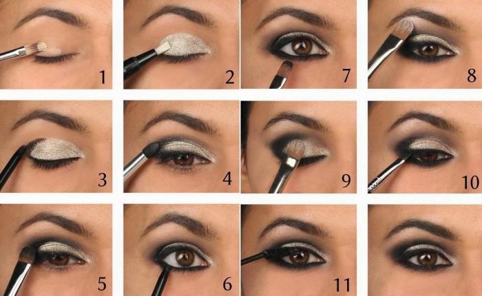 conseils pour faire son maquillage, comment réaliser un maquillage yeux smoky, maquillage yeux marron avec ombres foncées