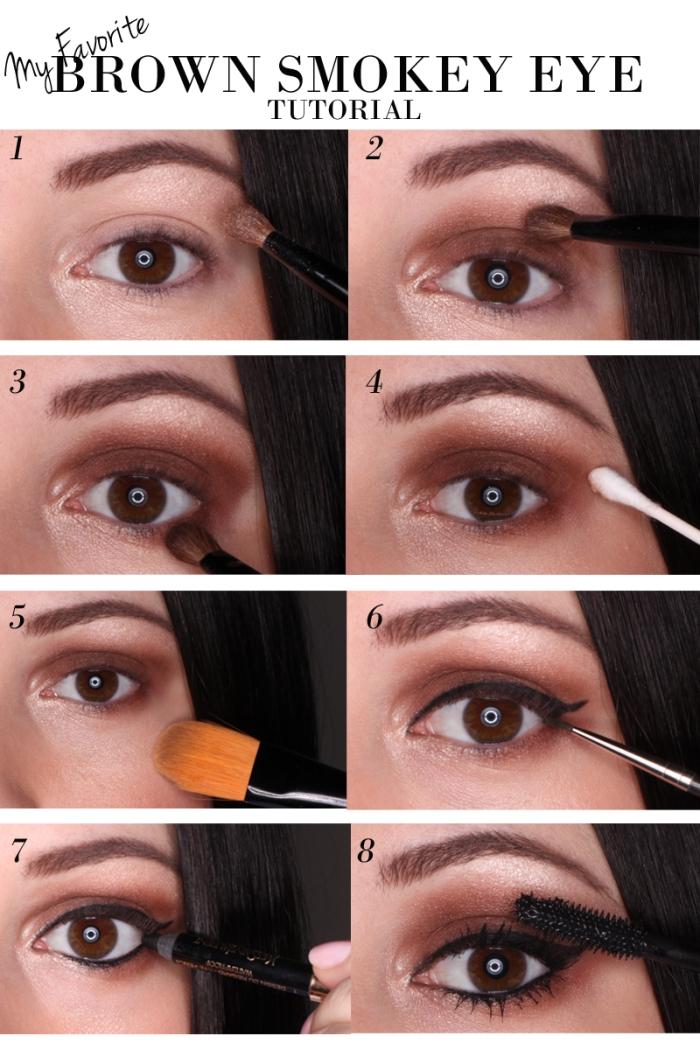 tuto maquillage yeux marron, comment faire maquillage yeux smoky avec eye-liner et fards à paupières marron