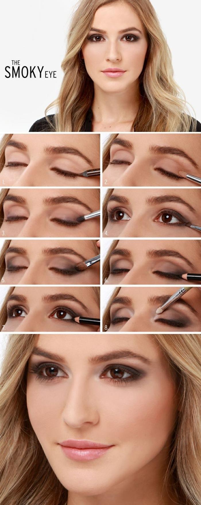 technique maquillage yeux marrons, guide maquillage pour femme blonde, comment mettre fards à paupières