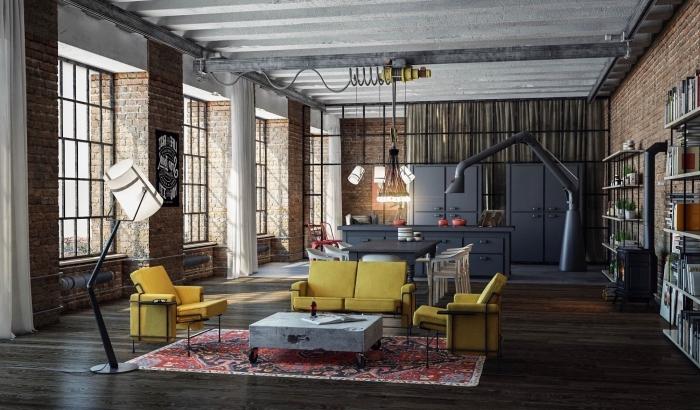 idee deco salon, meubles de salon avec canapé et fauteuils en jaune moutarde et table basse en béton