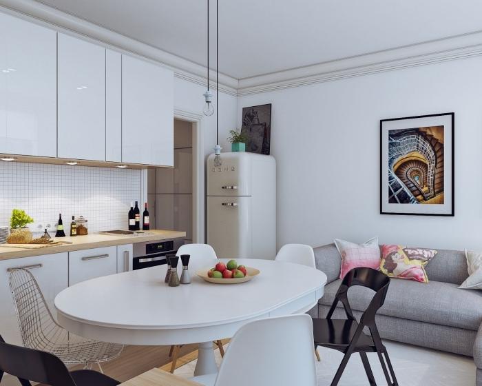 inspiration scandinave, cuisine blanches avec meubles hauts sans poignées, canapé gris au design scandinave