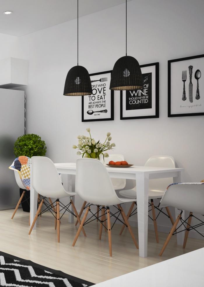 decoration scandinave, bouquet de tulipes blanches, lampes suspendues en noir, poster inspirant avec cadre noir