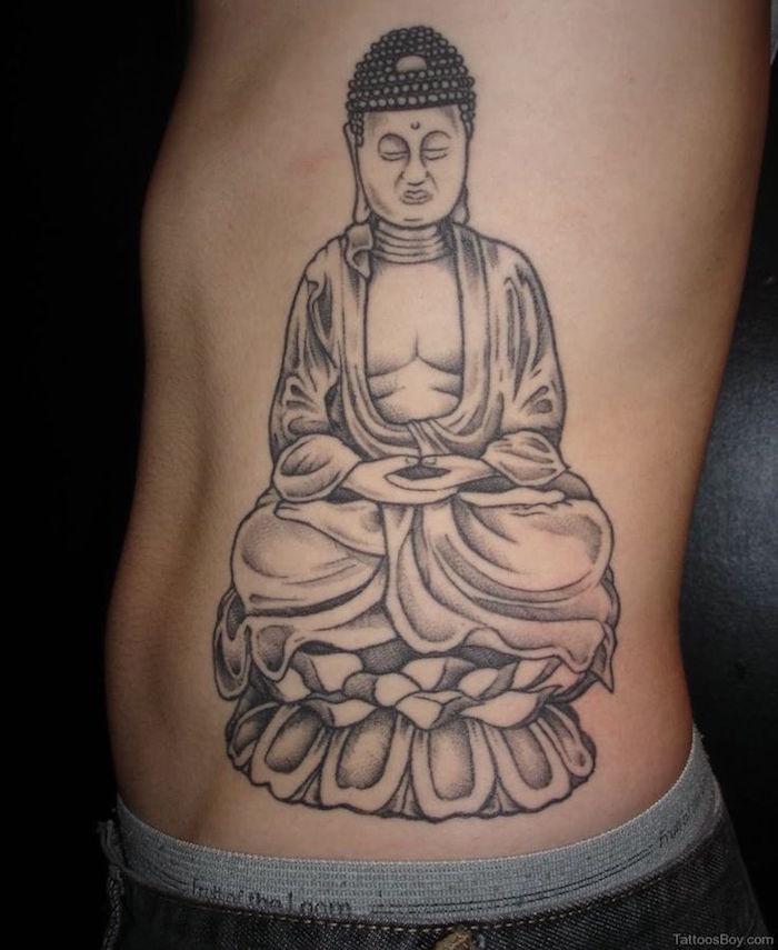 modele tatouage bouddha sur les cotes