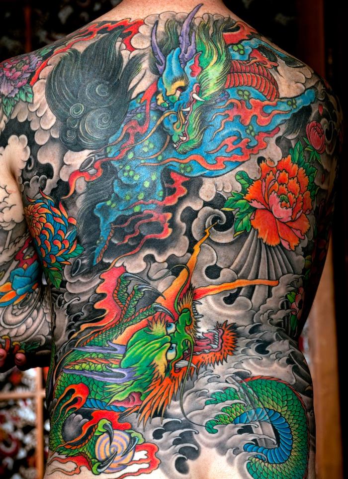 tatouage dragon japonais dos entier homme