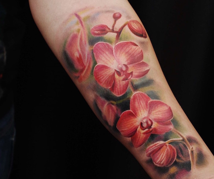 tatouage femme fleur orchidée rose avant bras