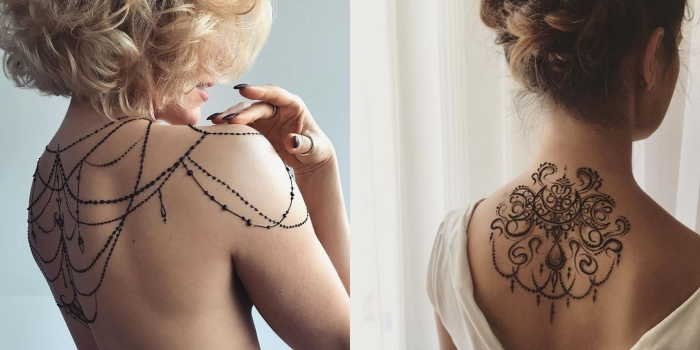 motif henné, tatouage temporaire sur le dos et les épaules à design bijoux en perles noires