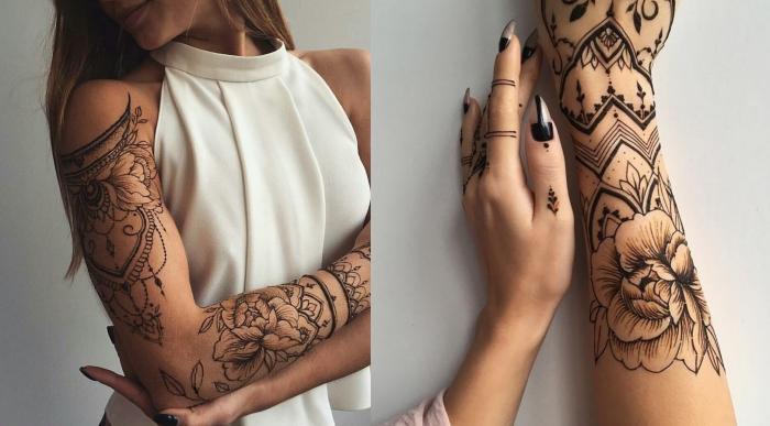 henné tatouage, exemple de tatouage non permanent avec dessin sur les bras et les mains à design florale