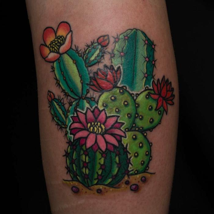 tatouage mollet homme, cactus fleuris, groupe de cactus tatoués au mollet