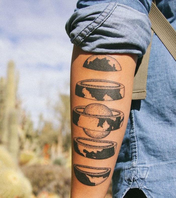 modèle tatouage planète tattoo de la terre décomposée