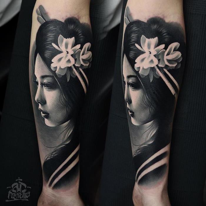 1001 id es tatouage geisha plaisir et tradition en 40 photos. Black Bedroom Furniture Sets. Home Design Ideas