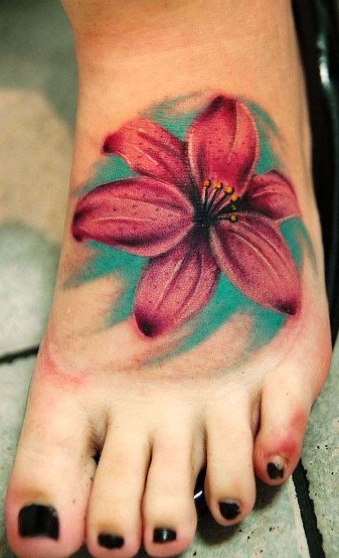 tattoo orchidees roses tatouage orchidée pied femme