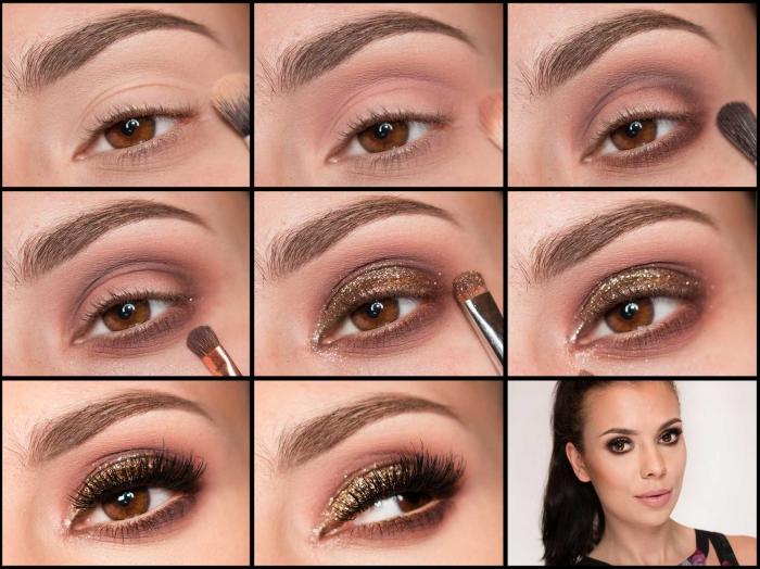 comment maquiller ses yeux, appliquer fards à paupières marron et orange, eye-liner brillant pour des yeux marron