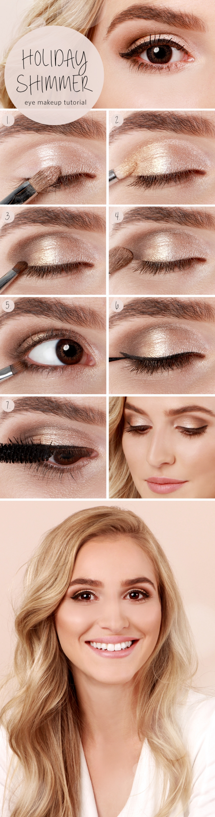 tuto maquillage femme blonde au teint bronzé, comment se maquiller les yeux avec eye-liner noir