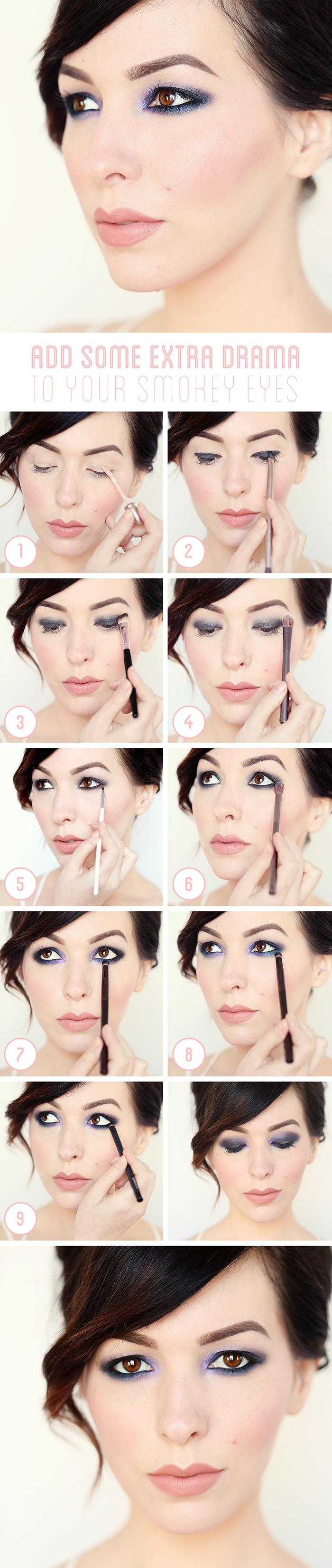 apprendre a se maquiller, réaliser son maquillage yeux marron avec fards à paupières bleus et rouge à lèvres nude