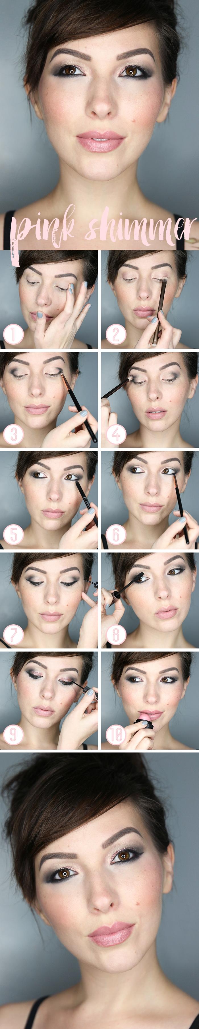 tuto facile, contouring visage aux reflets pêche sur les joues, coiffure femme aux cheveux attachés avec frange sur le côté