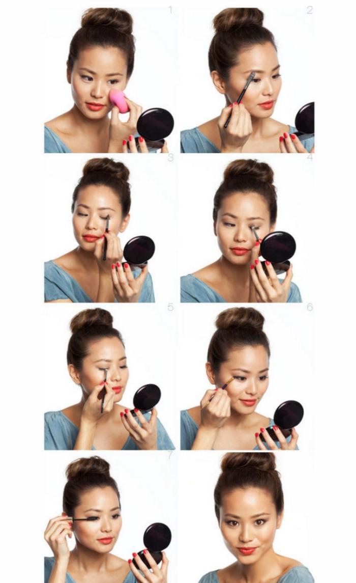 tuto maquillage, comment se maquiller les yeux avec mascara noir, contouring visage facile, rouge à lèvres rouge matte
