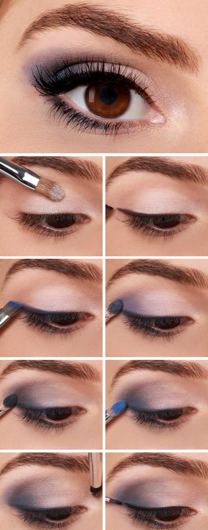 tuto maquillage yeux marrons, étapes à suivre pour appliquer ombres violet et noir, comment mettre fards à paupières