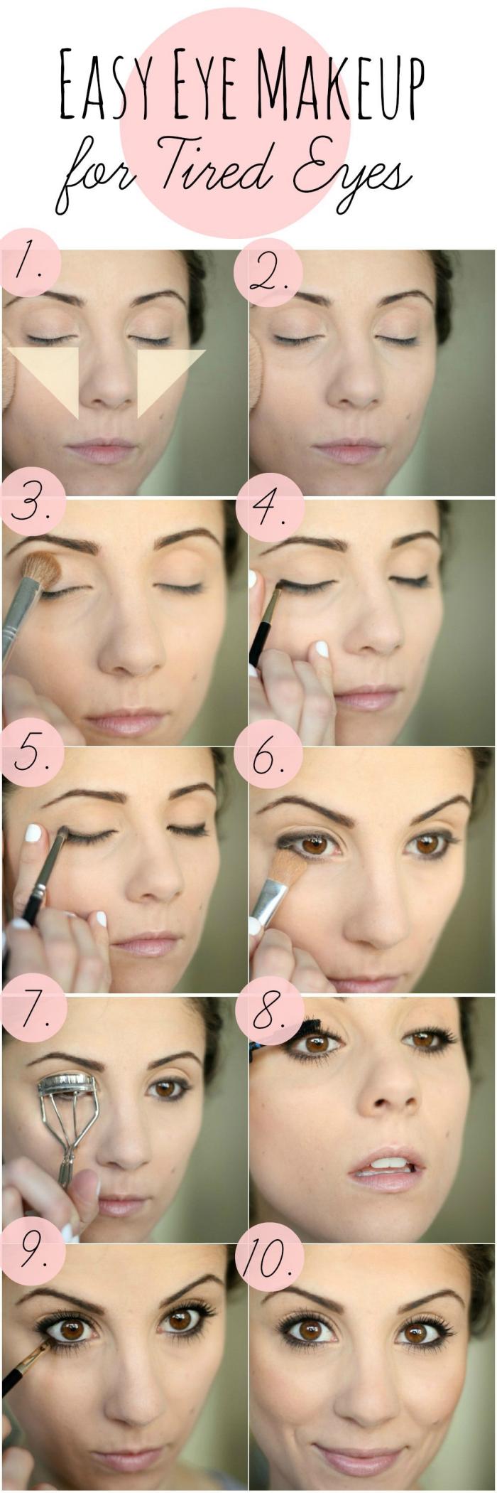 tuto maquillage yeux marrons, comment faire son contouring visage facile, appliquer fards à paupières et crayon noir
