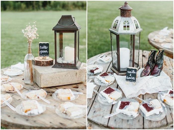 des morceaux de gateau de mariage sur un touret bois, lanternes avec bougies, bouteille avec des herbes séchées et rondin en bois