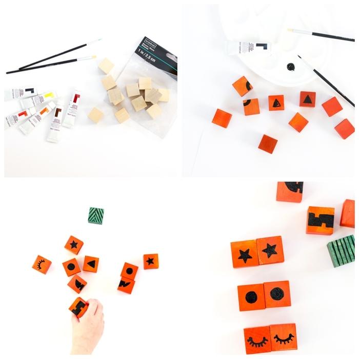 tuto pour fabriquer un puzzle jack o'lanterne de cubes en bois peints en orange et décorés au feutre noir, idée d'activiter manuelle d'halloween éducative