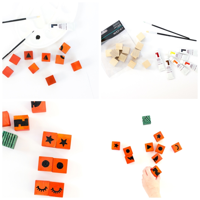 tuto de bricolage facile avec des cubes de bois repeints pour fabriquer un puzzle citrouille d'halloween avec ses enfants