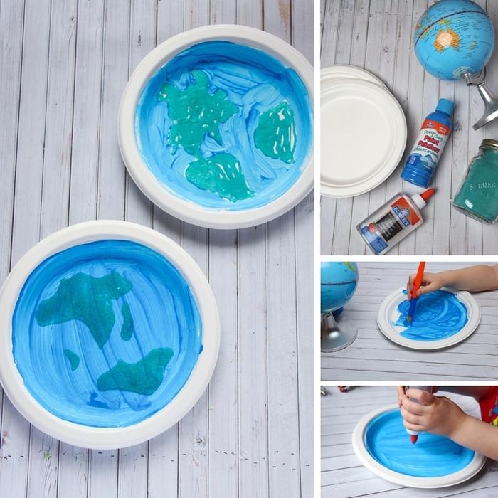 une activité manuelle maternelle éducative et amusante pour célébrer la journée de la terre en dessinant la planète terrestre sur une assiette en carton