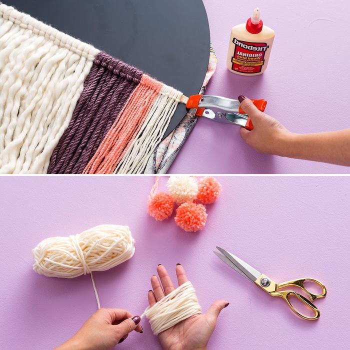 tuto de bricolage avec de la laine pour transformer un miroir rond en accent déco bohème chic