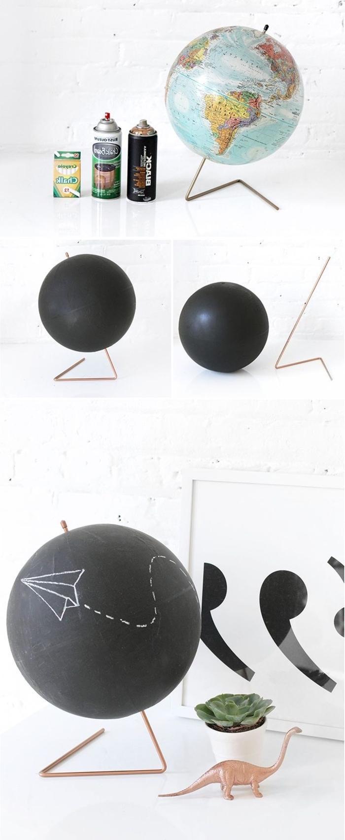 un projet diy maison facile pour relooker un globe terrestre en objet déco avec de la peinture ardoise