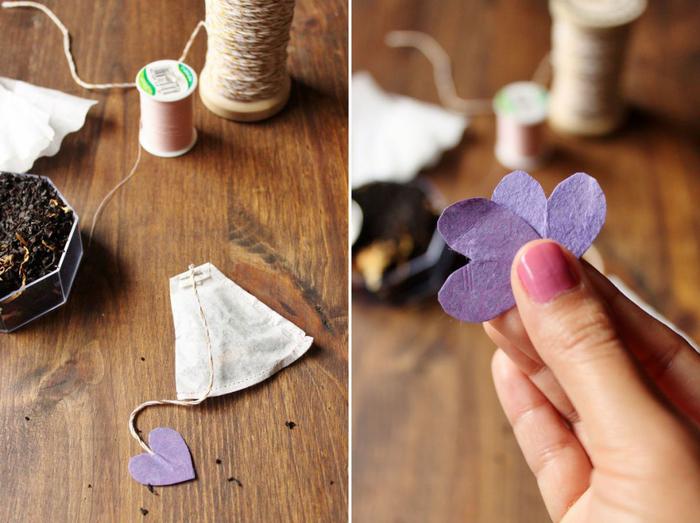 une activité créative pour adulte avec des matériels qu'on a déjà à la maison, des sachets de thé diy réalisés avec des filtres à café