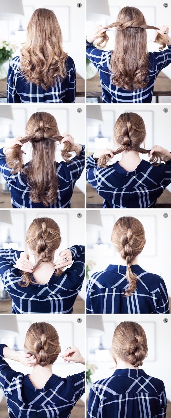 un chignon facile à réaliser pour un effet cheveux tressés relevés