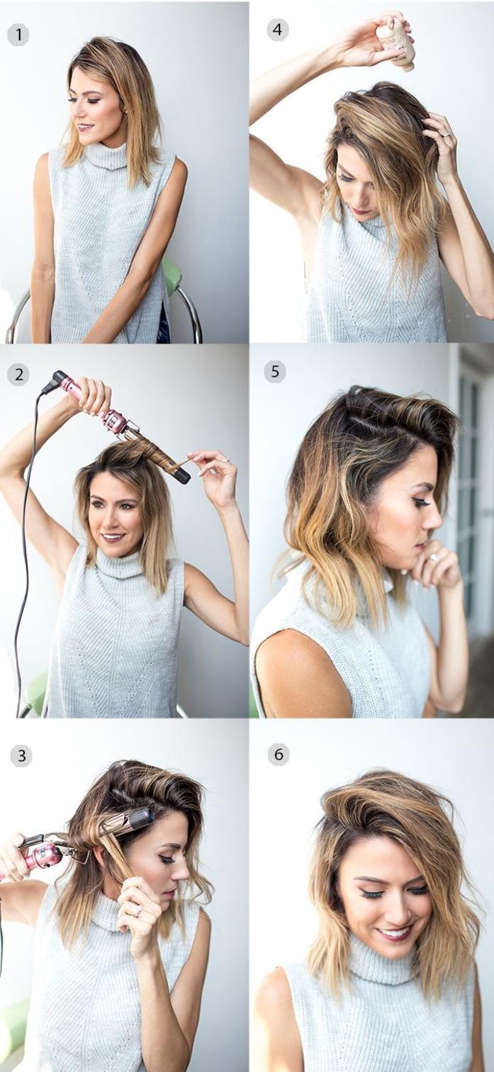 coiffure simple cheveux mi longs avec raie de côté et des ondulations wavy réalisé au fer à friser pour un effet volume