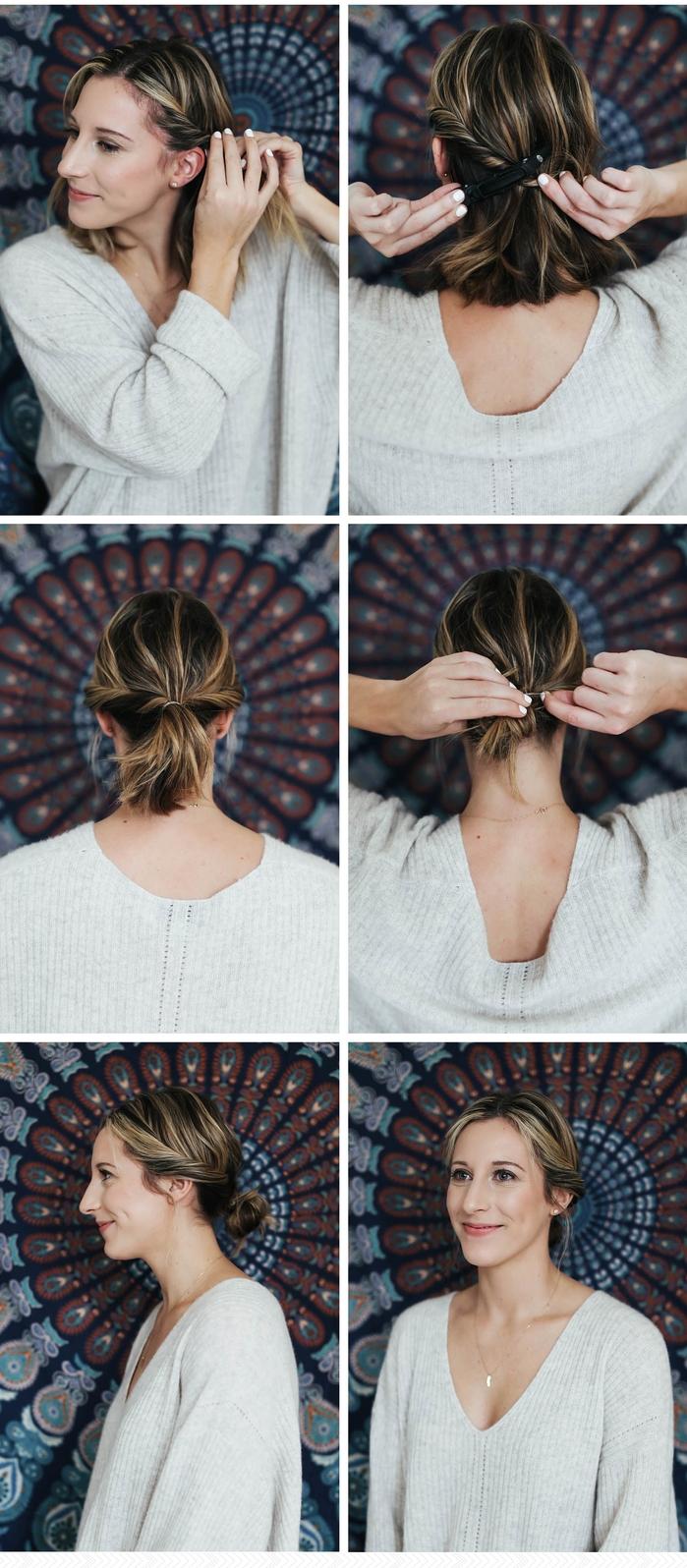 tuto coiffure cheveux courts pour réaliser un chignon bas et flou express en peu de temps