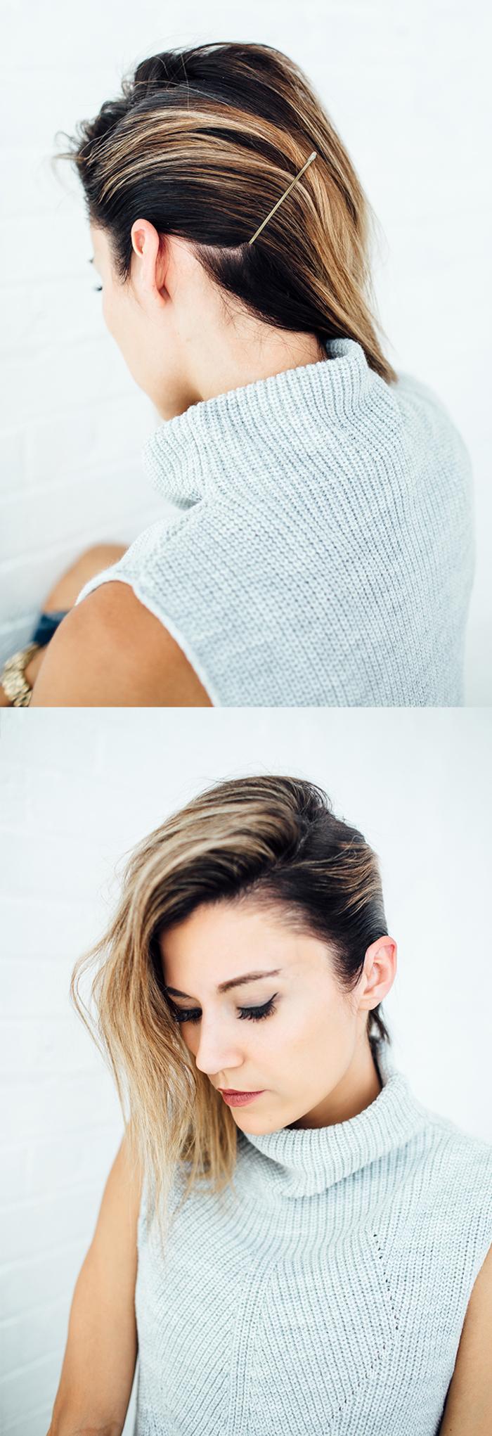 tuto coiffure cheveux courts aux légères ondulations et une raie de côté