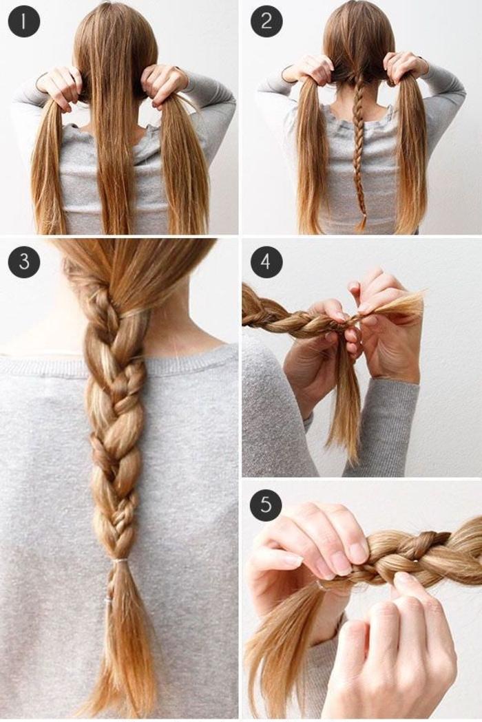 idée coiffures cheveux longs avec des tresses, coiffure originale tresse dans la tresse